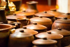 Ceramic clay pots