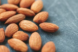 Macro photography of almond nuts