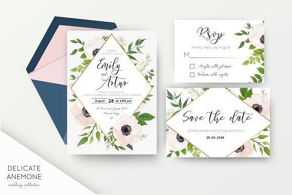 Wedding Suite Delicate Anemone Invitations