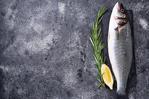 Raw fish seabass with lemon and rosemary