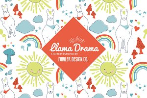 Llama Drama Repeating Pattern