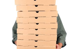 Pizza Delivery Man Behind Boxes