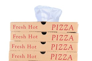 Pizza Boxes with Chef Hat