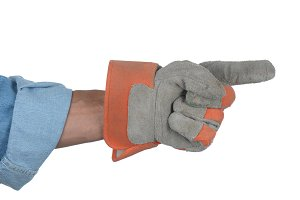 Workman with gloved hand pointing