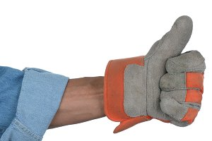 Workman with gloved hand thumbs up