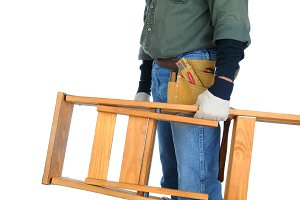 Construction Worker Carrying Ladder