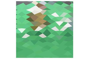Emerald Green Abstract Low Polygon B