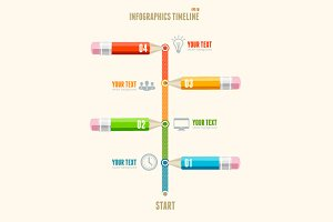Vector timeline infographics pencils