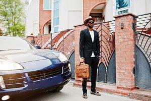 African american businessman car