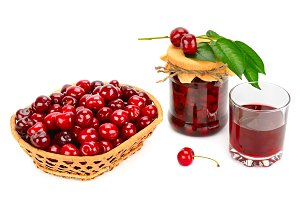 Glass of juice, basket of cherries