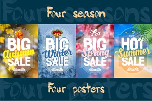 Four vector poster about sale