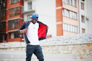 Stylish black man in sport wear