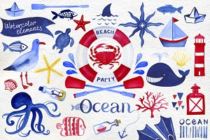 Watercolor nautical set 63 elements