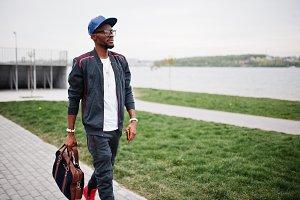 Stylish black man in sport wear