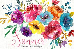 Watercolor Bright Summer Flowers PNG