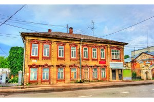 Historic building in the old town of Kostroma, Russia