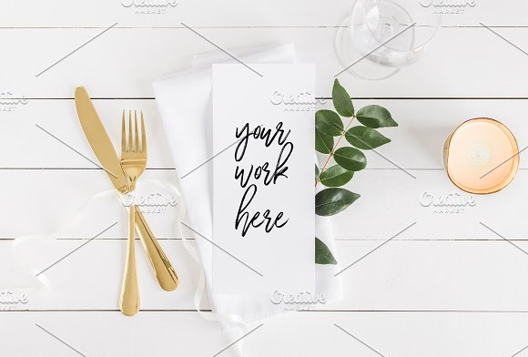 Menu Card Mockup Wedding Program