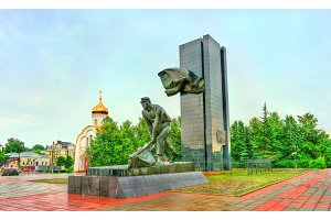 Monument to the fighters of the Revolution on Revolution Square in the city of Ivanovo, Russia