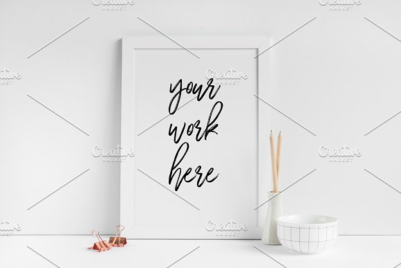 A4 White Frame Mockup Poster PSD