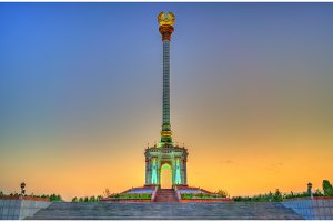 Independence Monument in Dushanbe, the Capital of Tajikistan