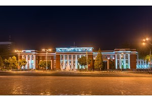 Parliament of the Republic of Tajikistan in Dushanbe at night