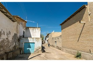 Traditional houses in the old town of Bukhara, Uzbekistan