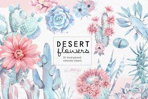 Desert flowers. Cacti clipart