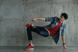Teen boy dancing break dance