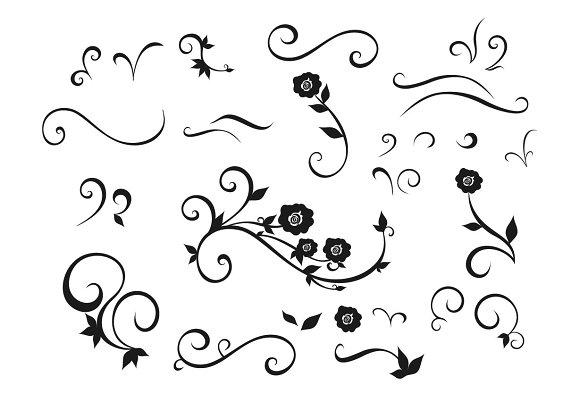 Design Elements Flowers Swirls