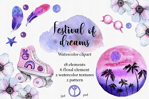 Festival of dreams watercolor clipar