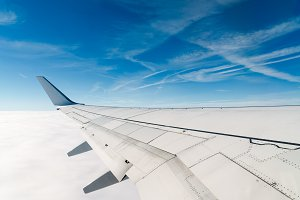 Airplane wing during flight