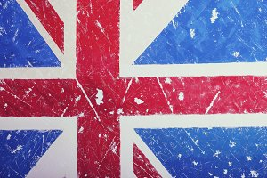 United Kingdom Flag with a vintage and old look