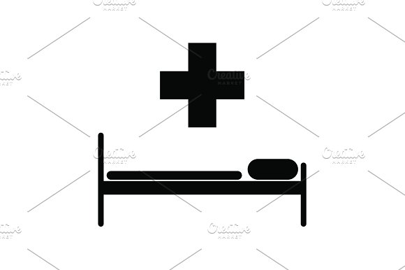 hospital bed and the cross icon.  in Graphics