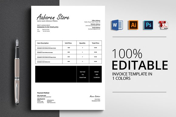 Invoice Template With 4 Formats