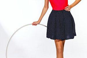 Teen girl with hula hoop