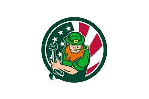 Irish-American Mechanic USA Flag Ico