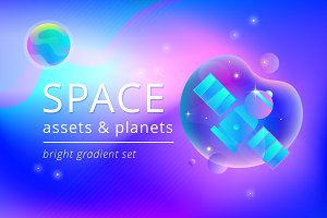 Space assets & planets vector set