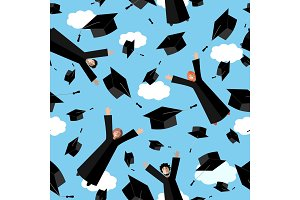Happy Graduates flying in the air with graduation hats. Jumping Students and Graduation Caps. Vector seamless pattern