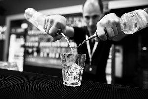 Bartender in work