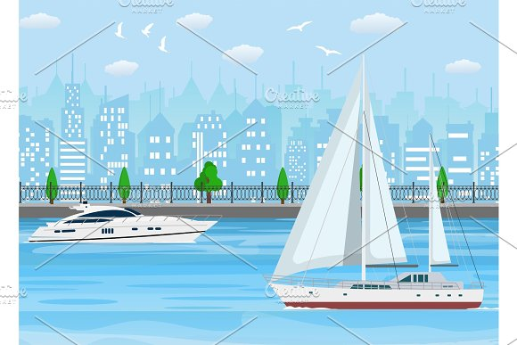 Sailboat With White Canvas And Modern Yacht
