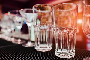 Set of collection cup glasses