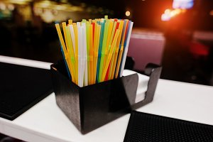 Color drinking straws  at the bar