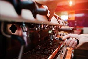 barman at coffee machine