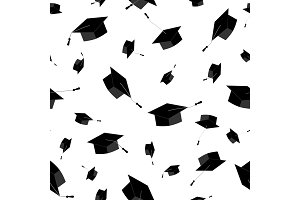Graduation caps fly in the air. Seamless pattern. Vector illustration, black and white