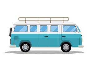 Retro travel van icon.