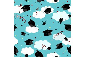 Graduates hats in the air. Graduation Caps in the sky. Vector seamless pattern.