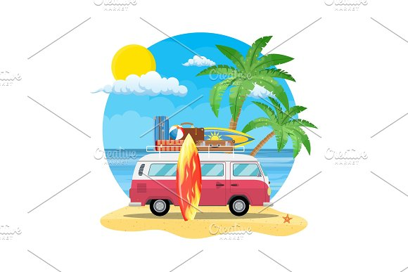 Travel Van With Surfboard And Suitcases