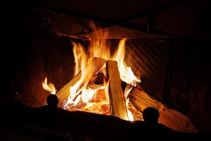 warm fire in the fireplace