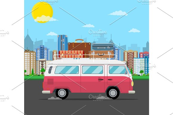 Retro Travel Van Car With Bag On Roof
