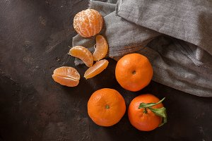 Small tangerines ecological on stone